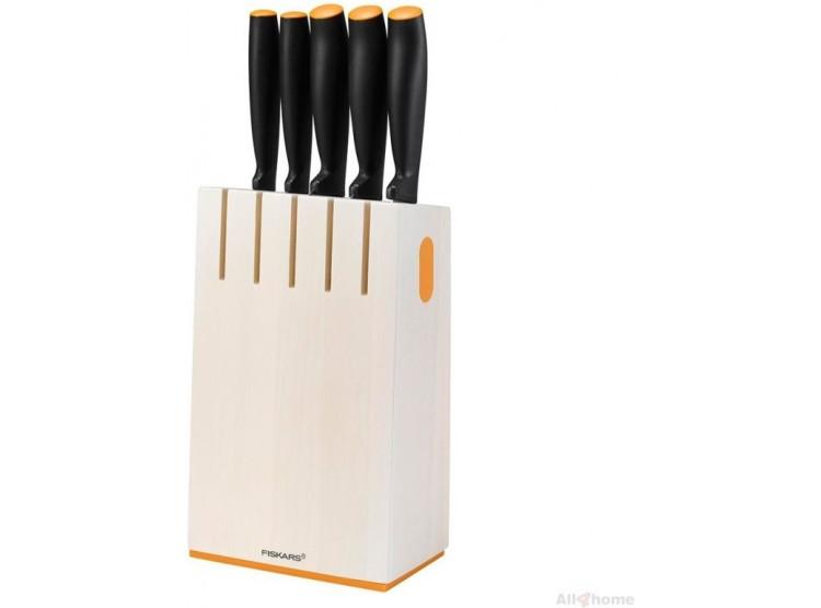 Fiskars Blok s pěti noži, bílý 1014209